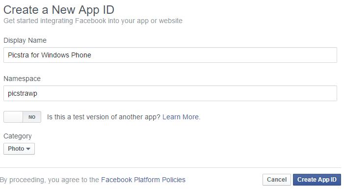 Create a Facebook App