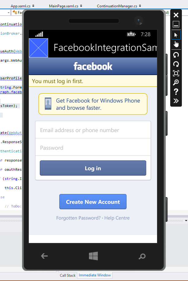 Authenticating with your Facebook app