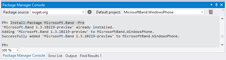 Adding Microsoft Band Nuget Package