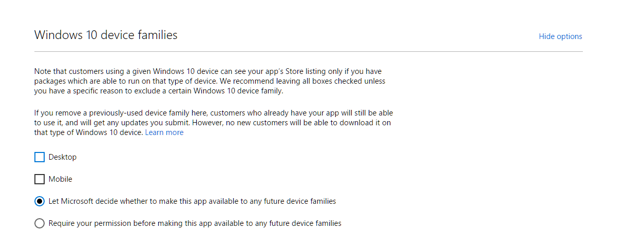 Windows 10 Store Options